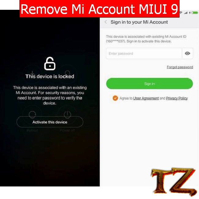 remove MI account on MIUI 9